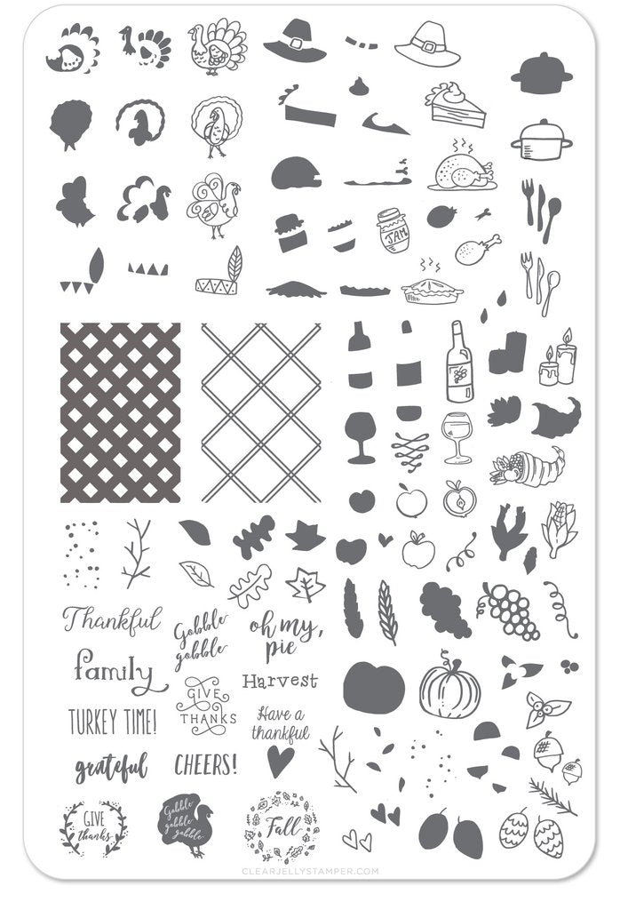 Give Thanks (CjS H-15) - Clear Jelly Stamping Plate