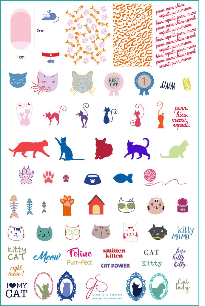 Here Kitty Kitty! (CjS-55) - Clear Jelly Stamping Plate