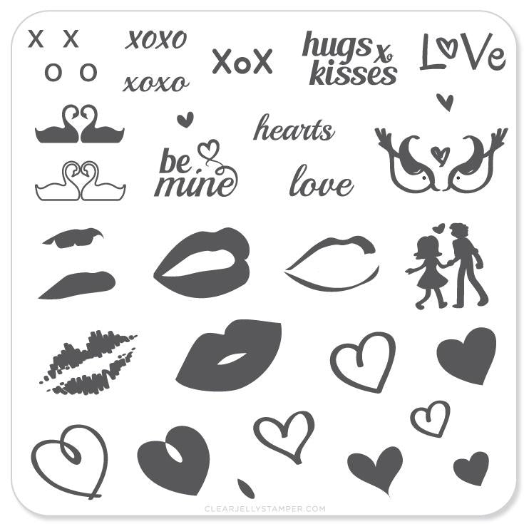 Luscious Lips and Love (CjS V-01) - CJS Small Stamping Plate