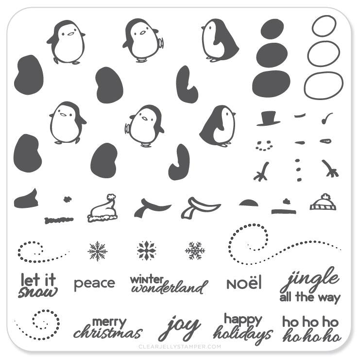Penguins and Christmas Cheer (CjSC-03) - CJS Small Stamping Plate