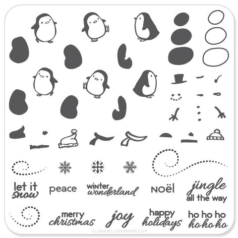 Penguins and Christmas Cheer - CJS Small Stamping Plate