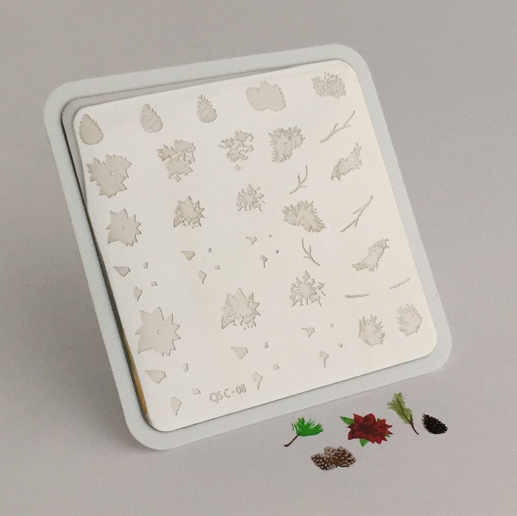 Pines and Poinsettias Christmas Plate (CJSC-08) - CJS Small Stamping Plate