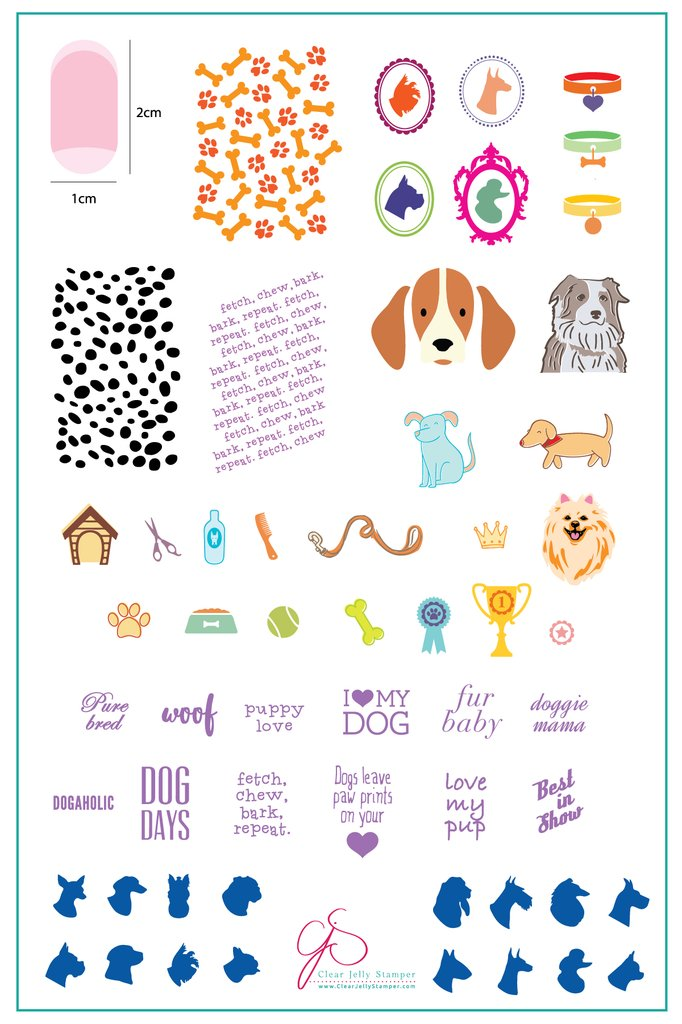 Puppy Love (CjS LC-23 )  - Clear Jelly Stamping Plate