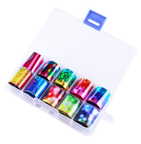 Rainbow and Galaxy Effect Foil Set of 10 in Case