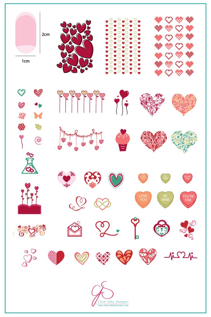 Show the Love (CjS V-05) - Clear Jelly Stamping Plate
