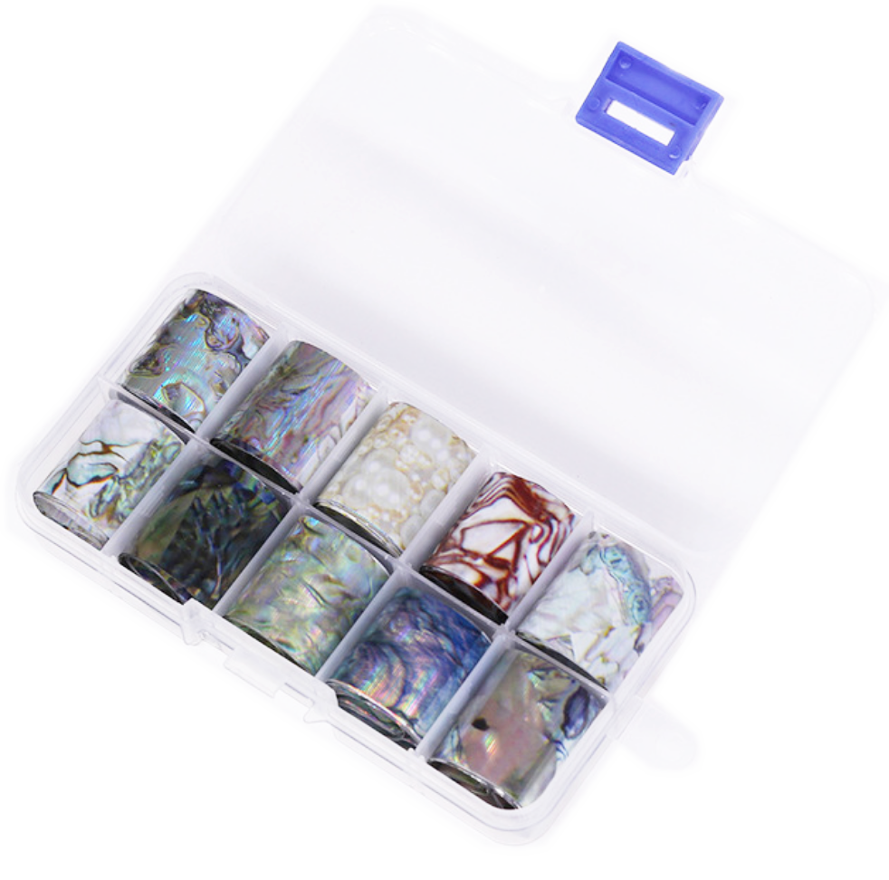 Stone Effect Foil Set of 10 in Case