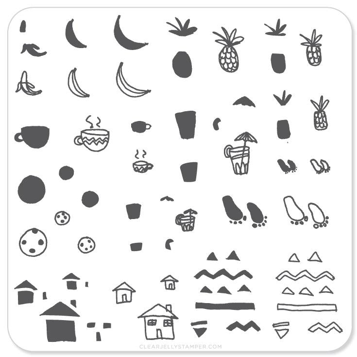 Summer Drinks and Fruit Doodle (CjS-20)- CJS Small Stamping Plate