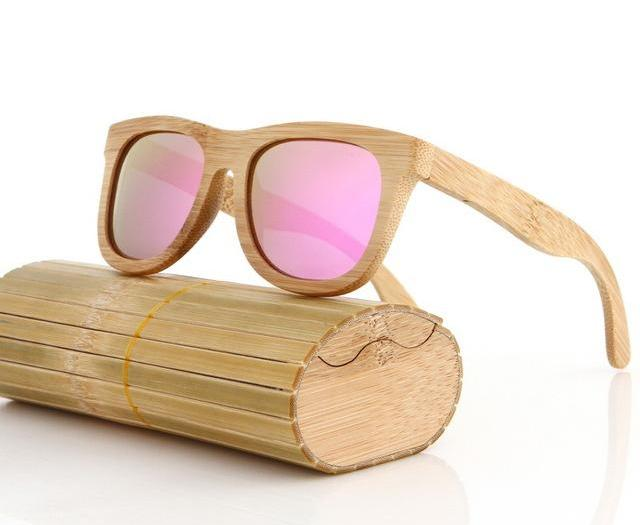 handcrafted bamboo sunglasses pink lens