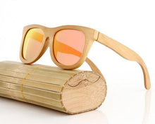 handcrafted bamboo sunglasses orange lens