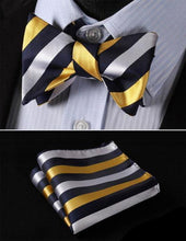 Striped Bow Tie & Pocket Square Combo