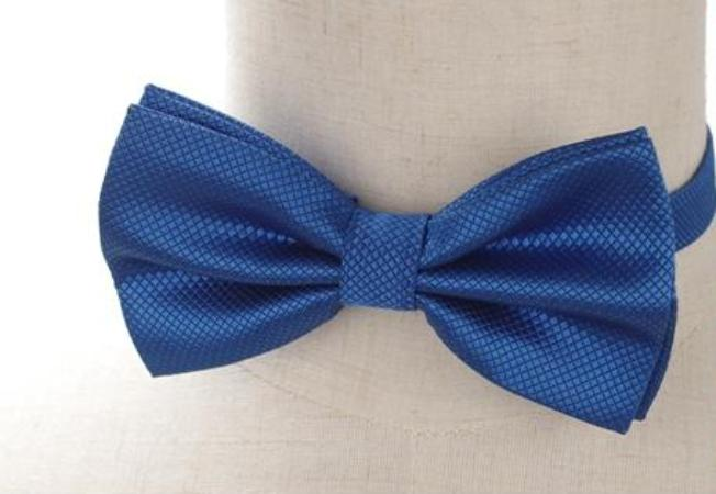 Pre-tied Blue Cross-hatch Bow Tie