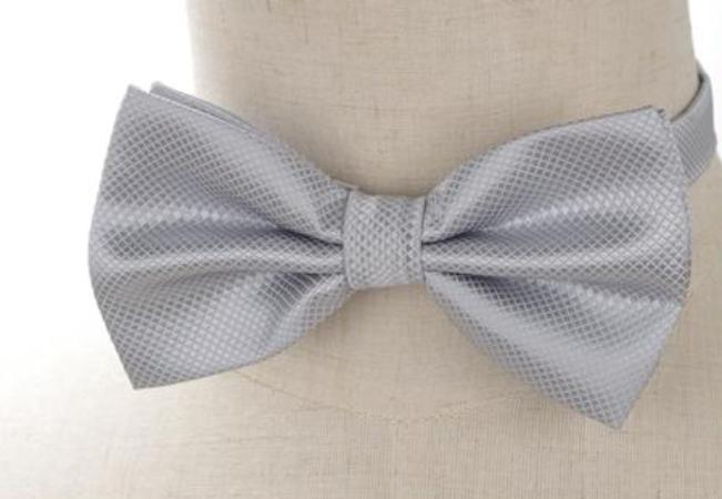 Pre-tied Light Gray Cross-hatch Bow Tie