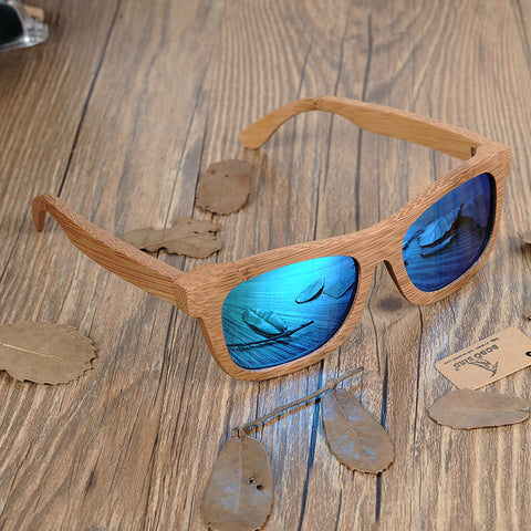 Polarized Bamboo Sunglasses (Blue Lens)