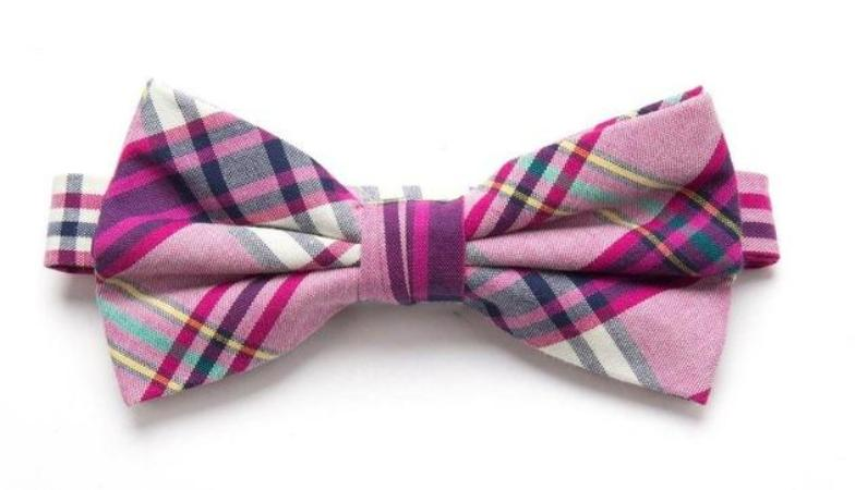 Pre-tied Pink Plaid Cotton Bow Tie