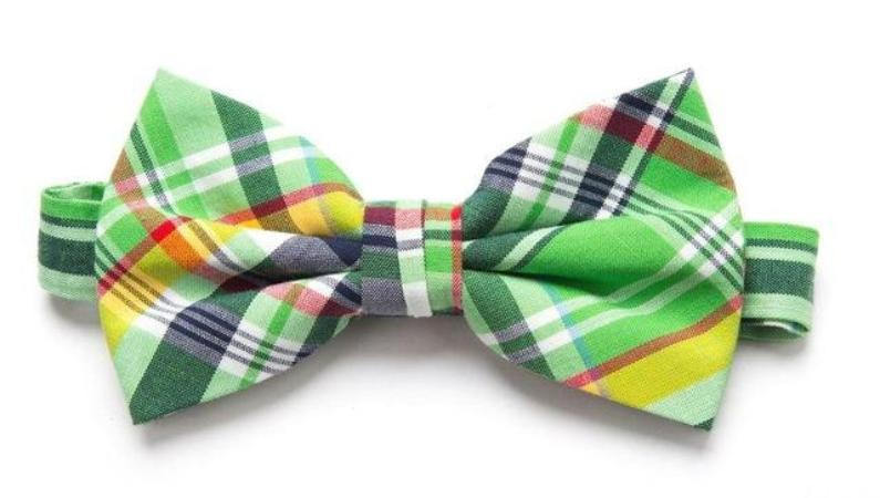Pre-tied Green/Yellow Plaid Cotton Bow Tie