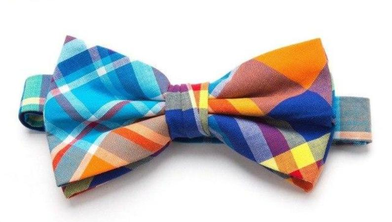 Pre-tied Blue/Orange Plaid Cotton Bow Tie