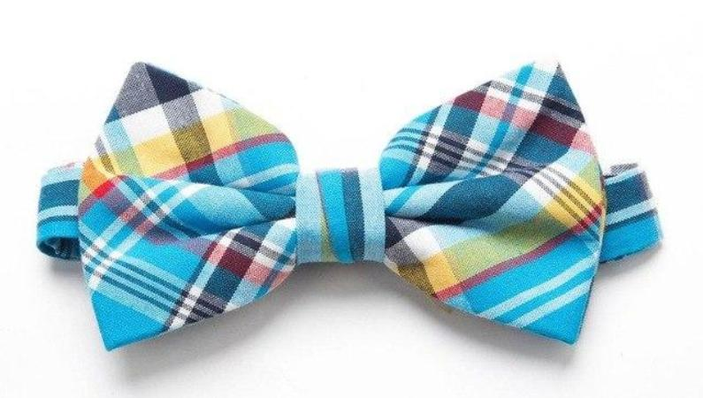 Pre-tied Blue/Yellow Plaid Cotton Bow Tie