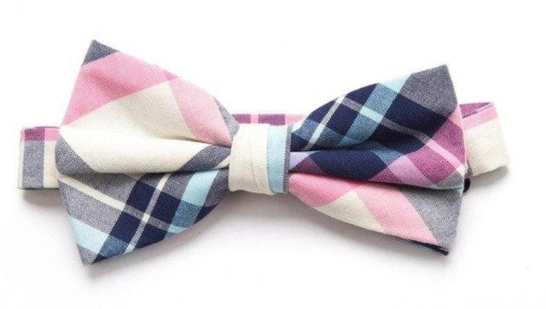 Pre-tied Pink/Blue Plaid Cotton Bow Tie