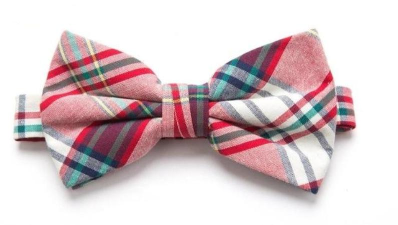 Pre-tied Red/Green Plaid Cotton Bow Tie