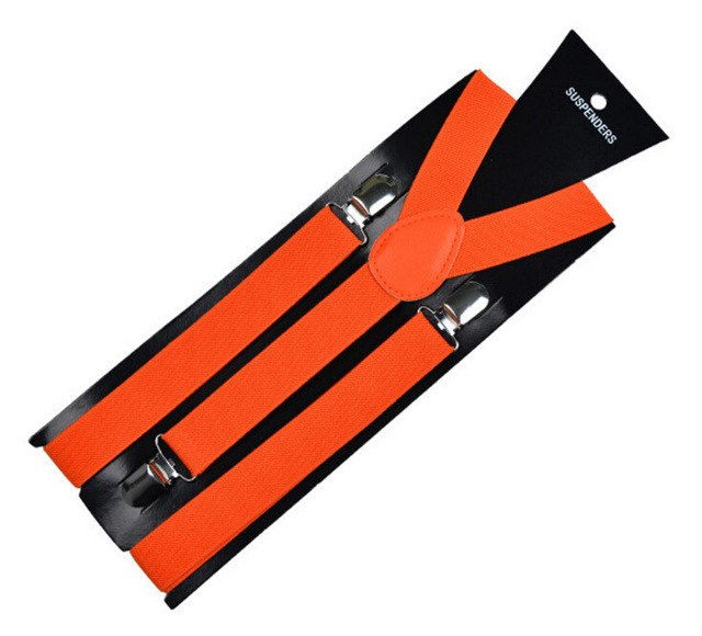 3-Clip Orange Elastic Suspenders