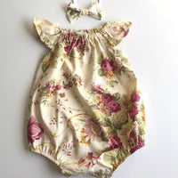 Short Sleeve Vintage Floral Playsuit Set- Amelia
