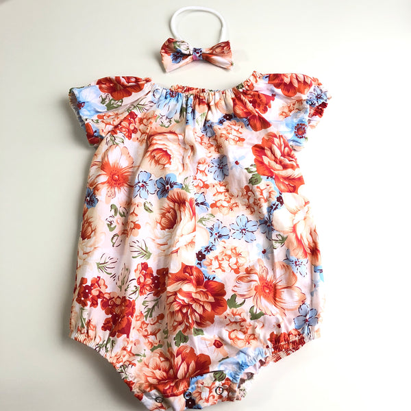 Short Sleeve Floral Playsuit Set- Cashmere