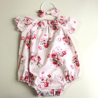 Short Sleeve Floral Playsuit Set- Scarlet