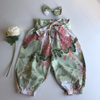 Floral High Waist Harem Pants with headband/clip set - Geneva (In-Stock) - Mikayla Ann Boutique