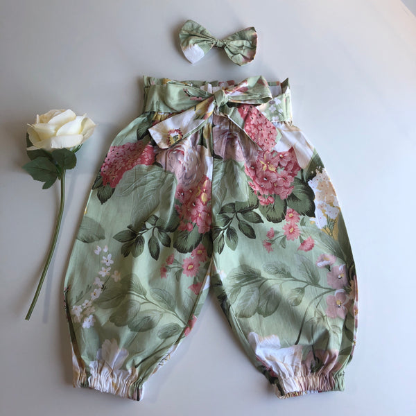 Floral High Waist Harem Pants with headband/clip set - Geneva (In-Stock)