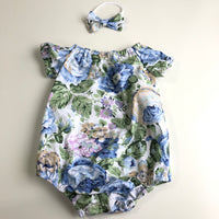 Short Sleeve Floral Playsuit Set- Royal