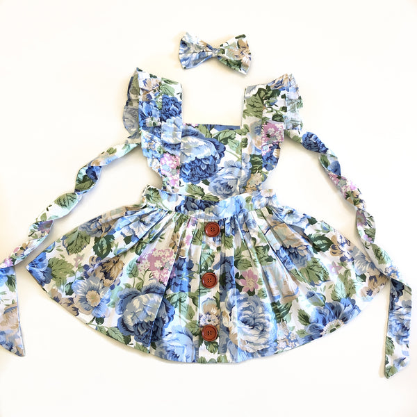 3-in-1 Pinafore Floral Dress Set - Royal