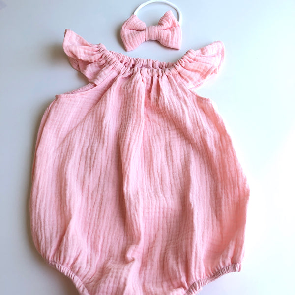 Flutter Sleeve Muslin Playsuit Set - Dusty Peach