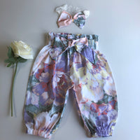 Floral High Waist Harem Pants with headband/clip set - Venice (In-Stock) - Mikayla Ann Boutique