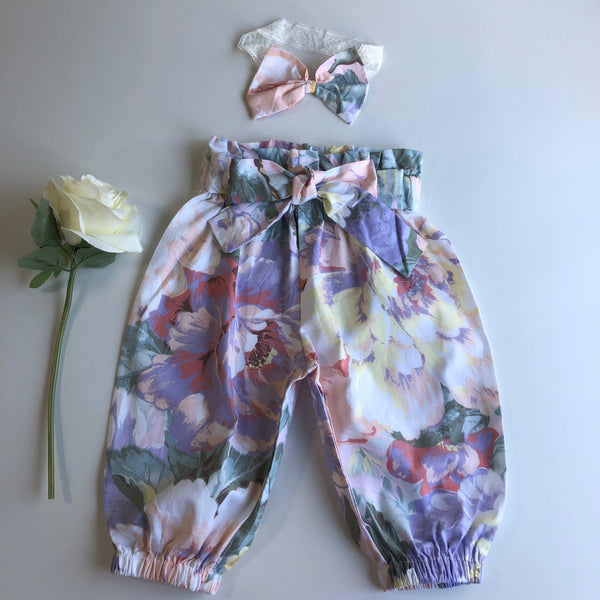 Floral High Waist Harem Pants with headband/clip set - Venice