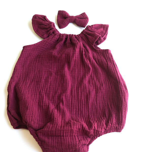 Flutter Sleeve Muslin Playsuit Set - Wine