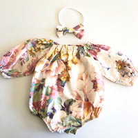 Long Sleeve Floral Playsuit Set- Candy
