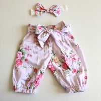 Floral Harem Pants with headband/clip set - Macy (In- Stock)