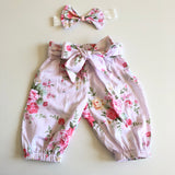 Floral Harem Pants with headband/clip set - Macy (In- Stock) - Mikayla Ann Boutique