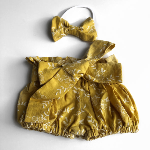 Paperbag Embroidered Jacquard Shorts - Mustard - Mikayla Ann Boutique