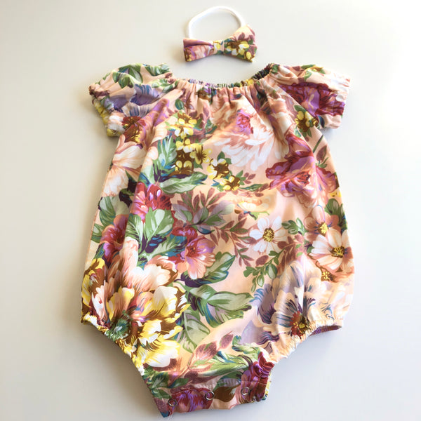 Short Sleeve Floral Playsuit Set- Celene