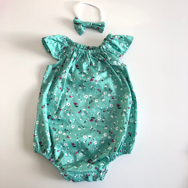 Short Sleeve Floral Playsuit Set- Kelsey (Teal Green)
