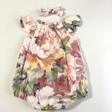 Short Sleeve Floral Playsuit Set- Candy
