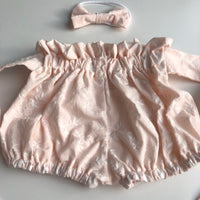 Paperbag Embroidered Jacquard Shorts - Light Peach