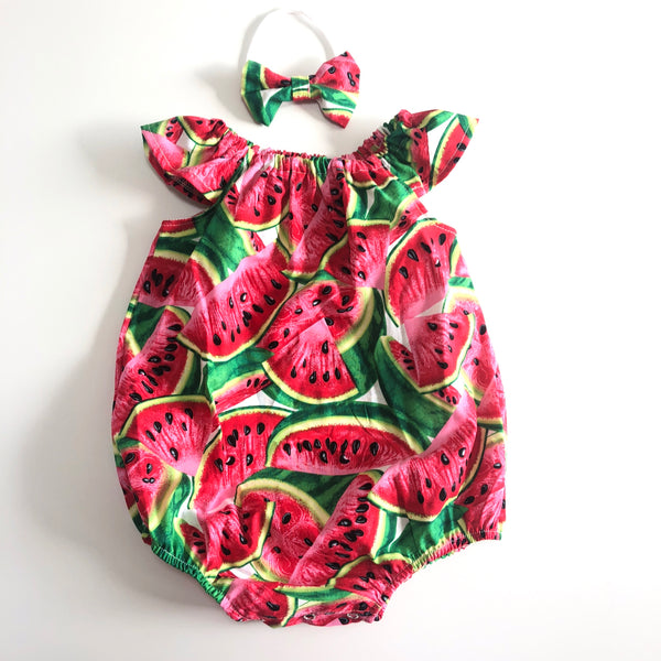 Short Sleeve Playsuit Set- Watermelon