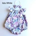 Long Sleeve / Short Sleeve Playsuit Set- Isla Pink (Isla White Old Out)