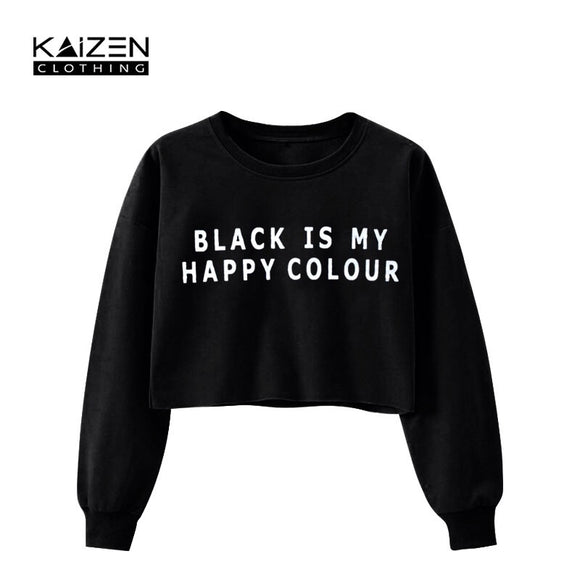 Black Happy Color Crop Top