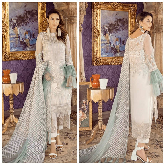 White Embroidery Stitched Party Wear