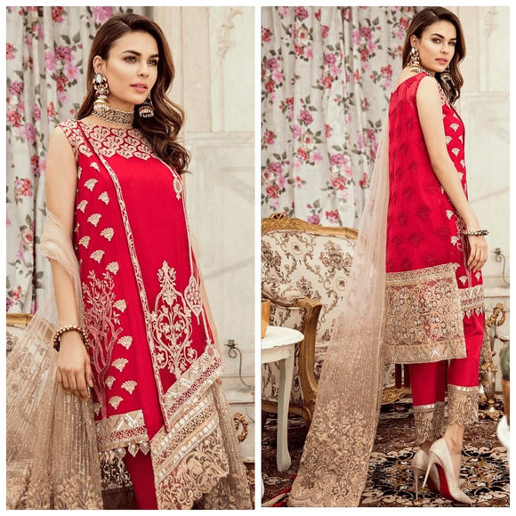 Red Mughal Collection Party Wear Stitched