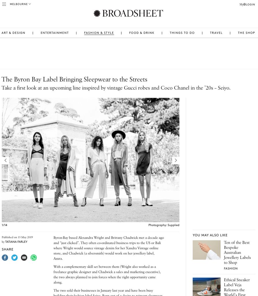 THE BROADSHEET - The Byron Bay Label Bringing Sleepwear to the Streets