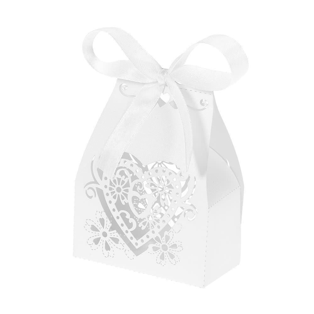 50pcs/set Mini Laser Cut Hollow Wedding Favor Box Candy Boxes White ...
